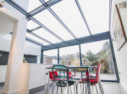 Primary thumb contemporary aluminium conservatory glazed glass extension kingston surrey