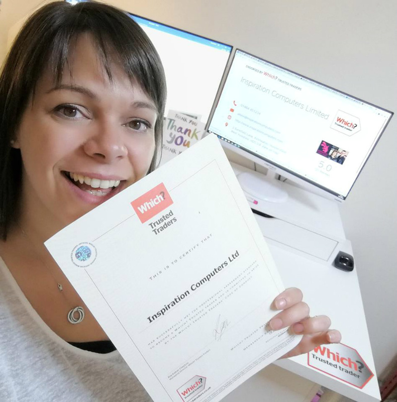 Alison holding a Which? Trusted Traders certificate