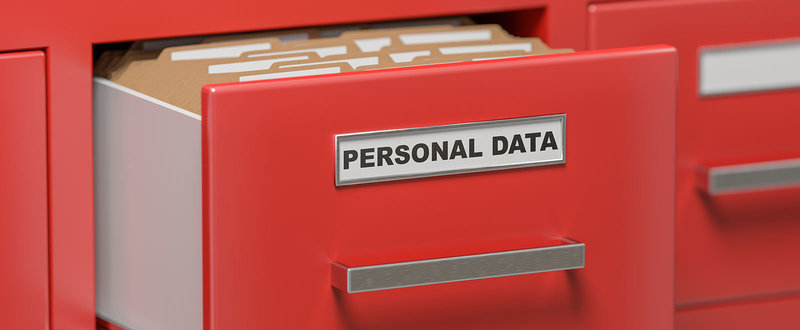 personal data file in an open drawer
