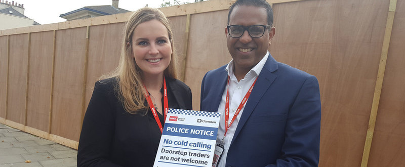 Raj Kakar-Clayton and Olivia Peck at the launch of the No Cold Calling Zone Which? Trusted Traders and Camden initiative