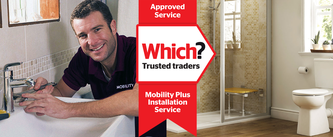 mobility plus installer, bathroom and endorsement ribbon
