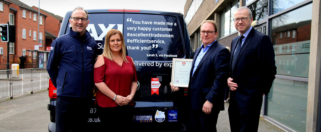 Baxi representatives and Which? Trusted Traders with certificate