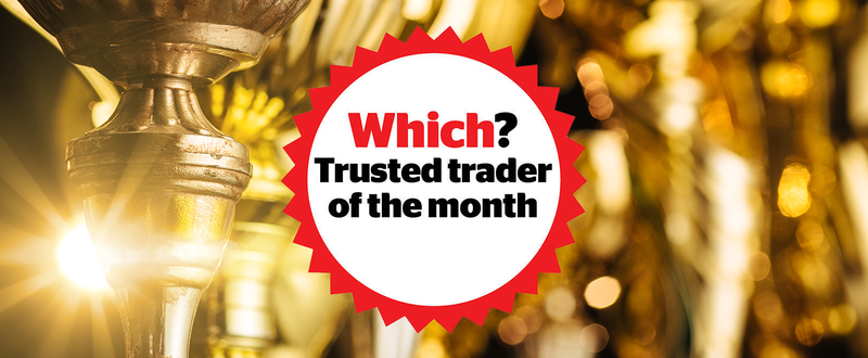 Which? Trusted trader of the month logo over golden awards