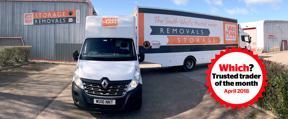 Van Man Removals and Storage Ltd van with Which? Trusted trader of the month logo