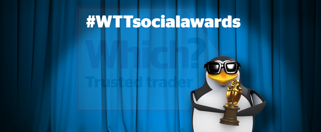 Which? Trusted Traders social awards with penguin banner