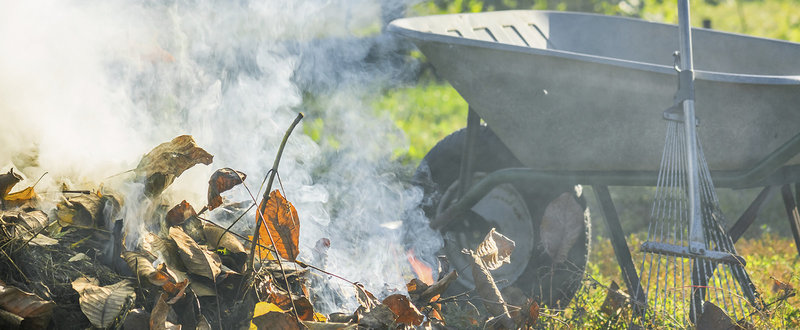 garden leaves burning with wheelbarrow and rake in background