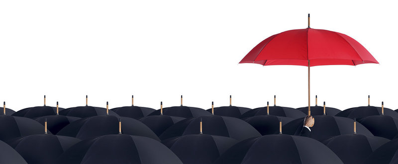 insurance red umbrella being held up above a sea of black umbrellas
