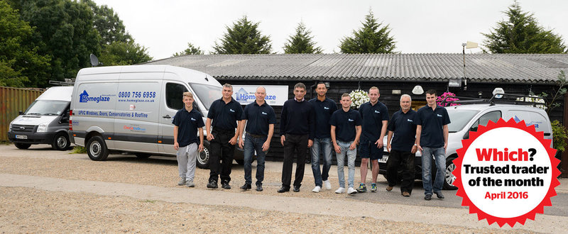 Homeglaze team with April Which? Trusted trader of the month logo