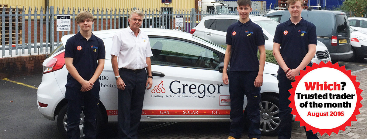 Gregor heating apprentices with August logo