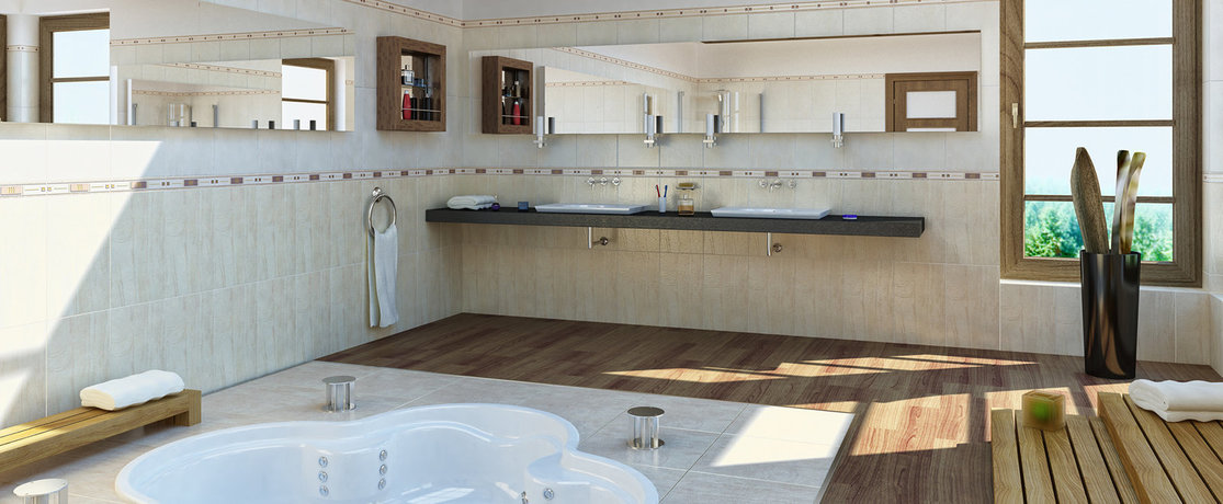 luxury bathroom with sunken bath, tiling and decked flooring