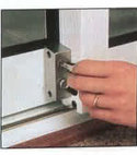 Square thumb patio door lock