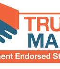 Square thumb trust mark logo