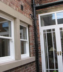 Square thumb double glazed sash window installation