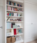 Square thumb shaker style wardrobe with bookcase bespoke furniture storage unit shelves custom solid wood painted cupboard bookcase alcove unit wardrobe made to measure built in 2