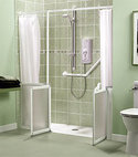 Square thumb level access shower lowprofile akw