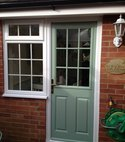 Square thumb composite door back chart well green