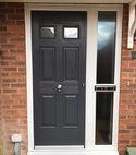 Square thumb composite door
