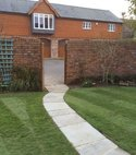 Square thumb garden landscaping   pathway after  pimperne  2