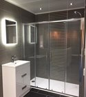 Square thumb grey strip tile shower room