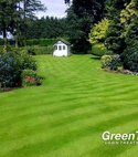 Square thumb striped lawn with shed